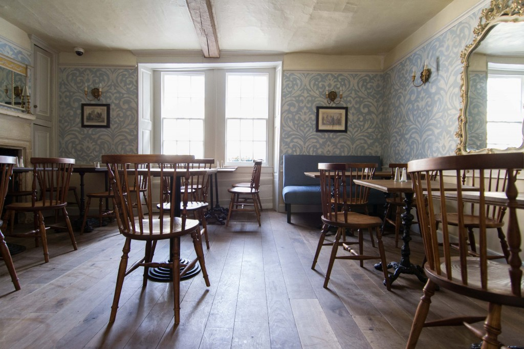 The 2nd floor dining room at Sally Lunn's - with a feel of the early 1800s and stunning handmade wall paper